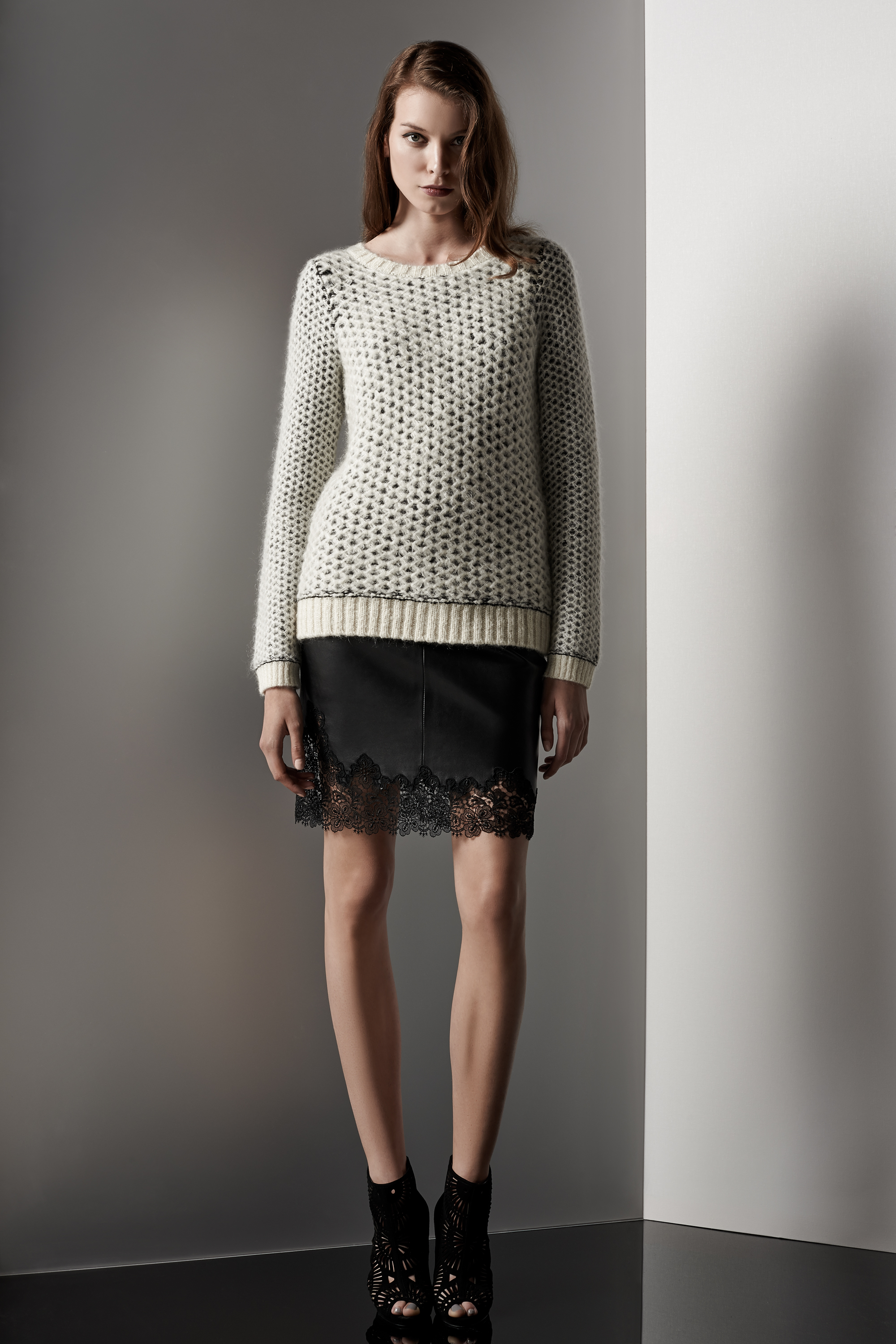 fdf5d424 In this collection, Reiss have opted to use a variety of two-toned  materials like leather and lace. I love this leather mini skirt with the  lace hemline.